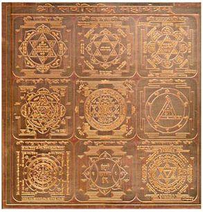 Yantras on copper plate